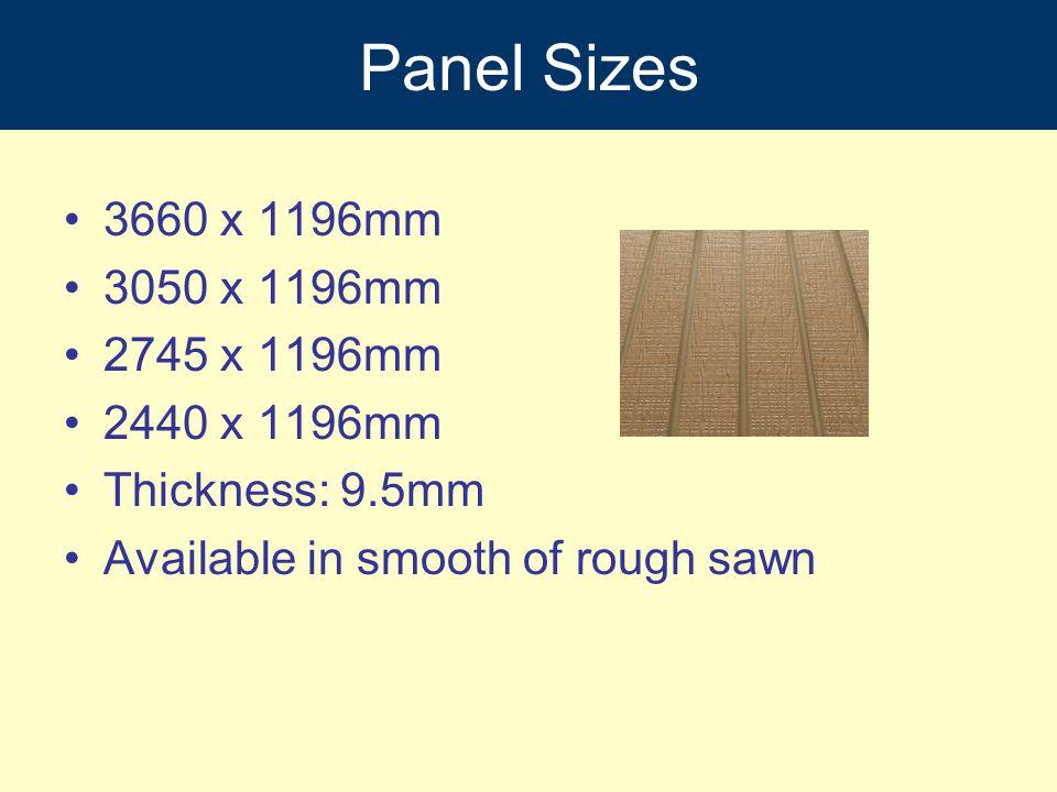 Panel Sizes 3660 x 1196mm 3050 x 1196mm 2745 x 1196mm 2440 x 1196mm