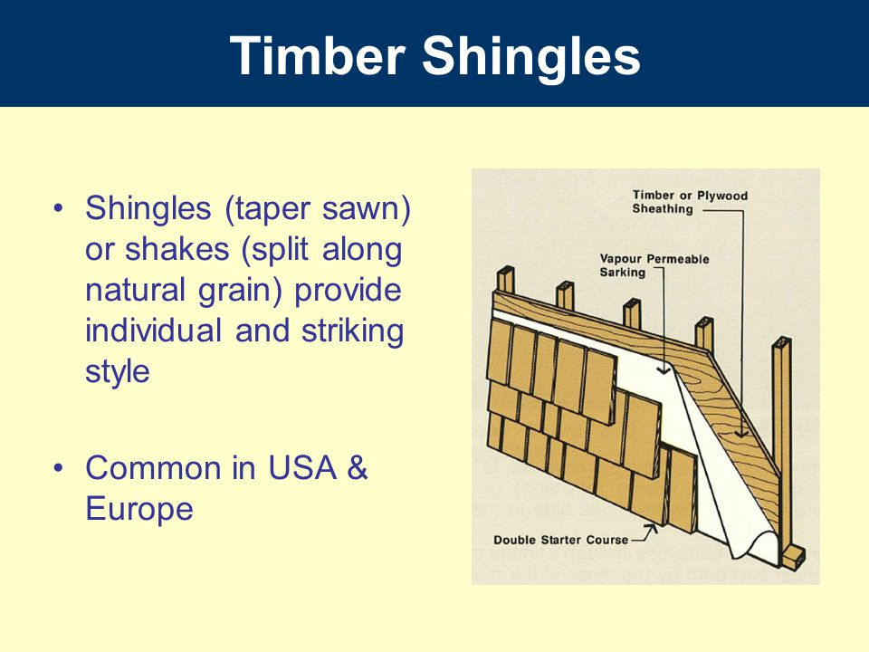 Timber Shingles Shingles (taper sawn) or shakes (split along natural grain) provide individual and striking style.