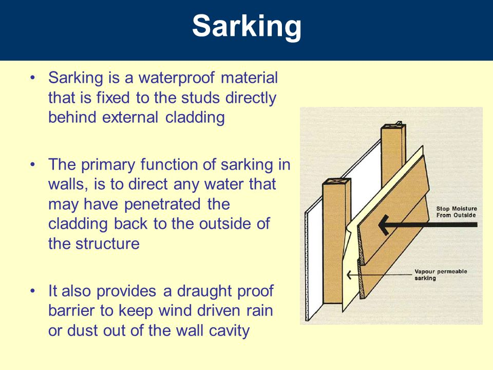 Sarking Sarking is a waterproof material that is fixed to the studs directly behind external cladding.