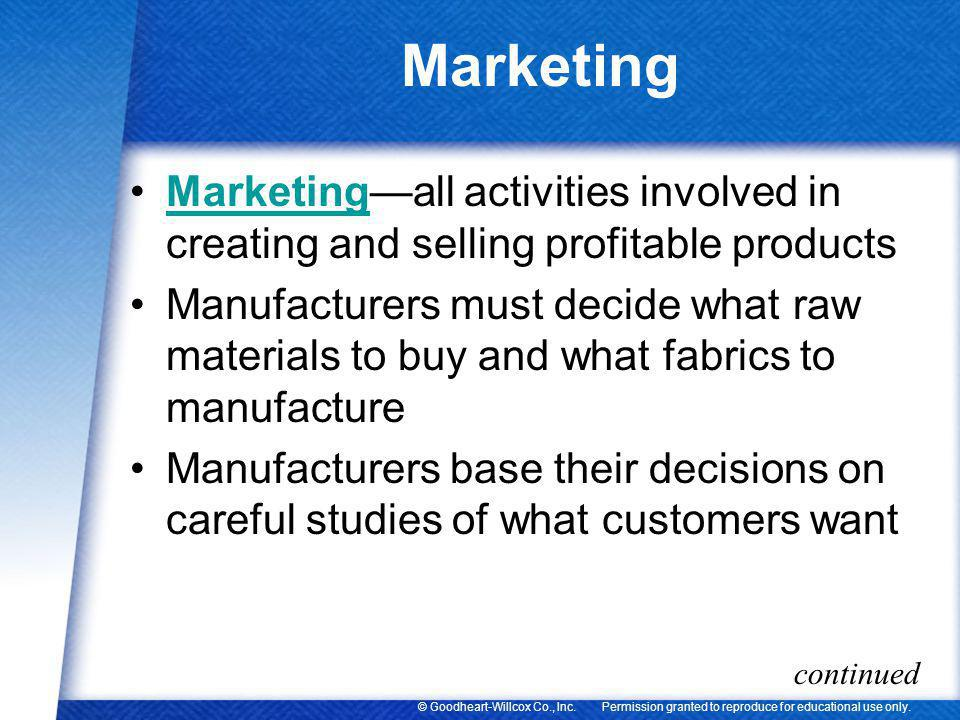 Marketing Marketing—all activities involved in creating and selling profitable products.