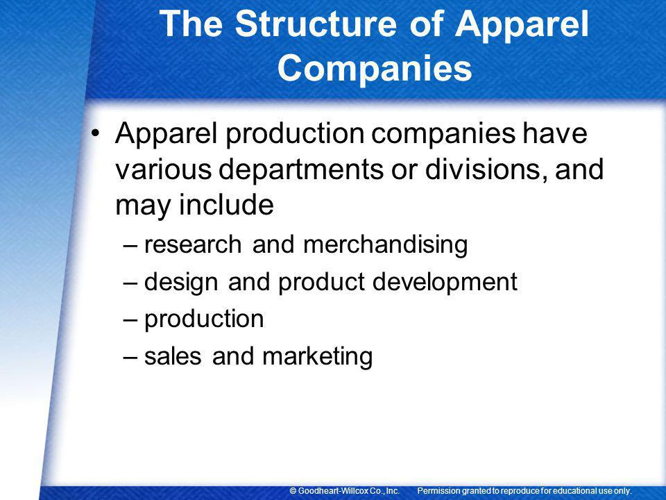 The Structure of Apparel Companies