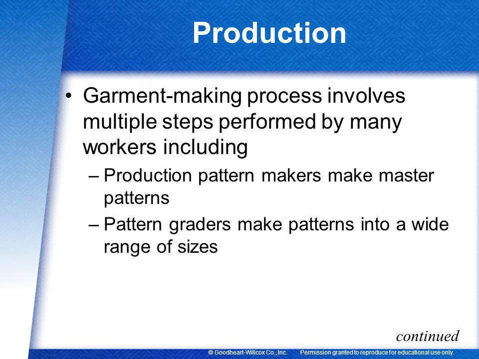 Production Garment-making process involves multiple steps performed by many workers including. Production pattern makers make master patterns.