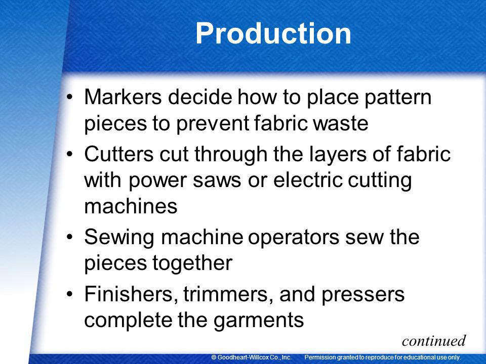 Production Markers decide how to place pattern pieces to prevent fabric waste.