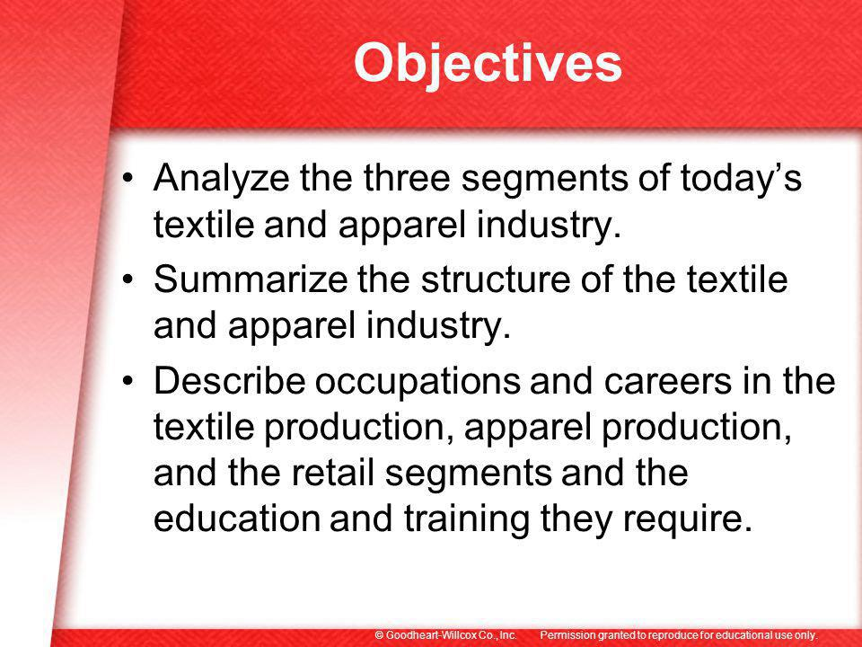 Objectives Analyze the three segments of today's textile and apparel industry. Summarize the structure of the textile and apparel industry.