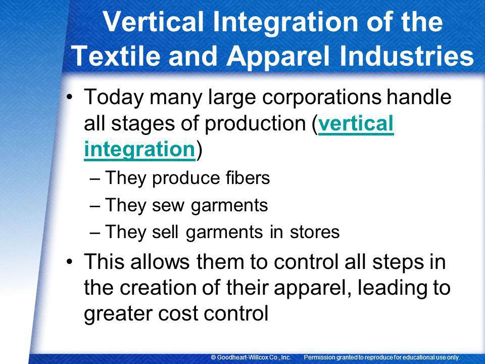 Vertical Integration of the Textile and Apparel Industries