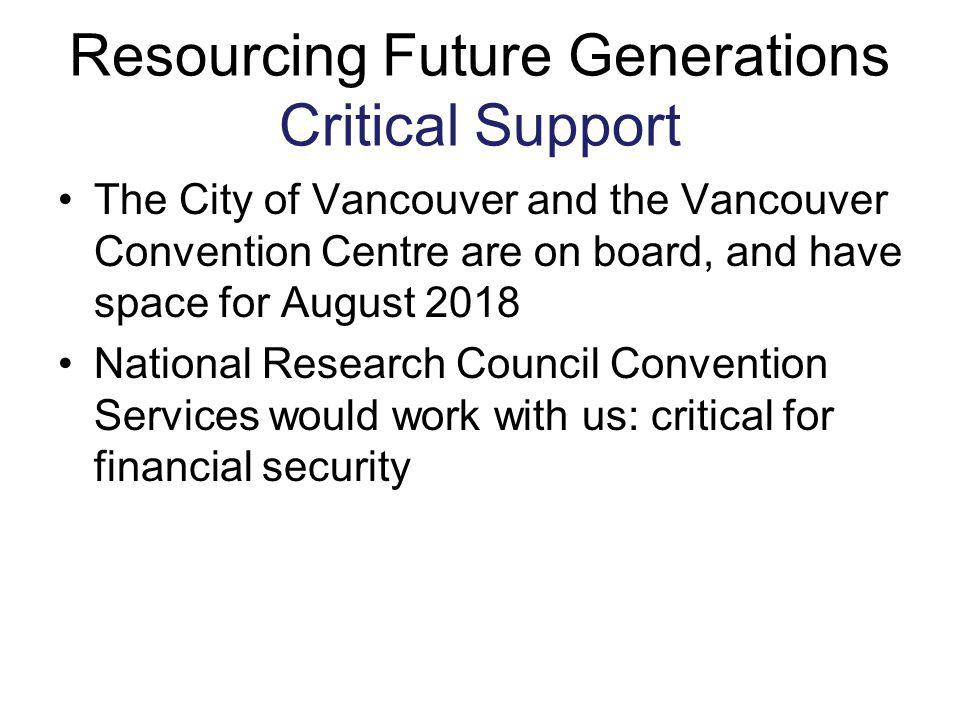 Resourcing Future Generations Critical Support