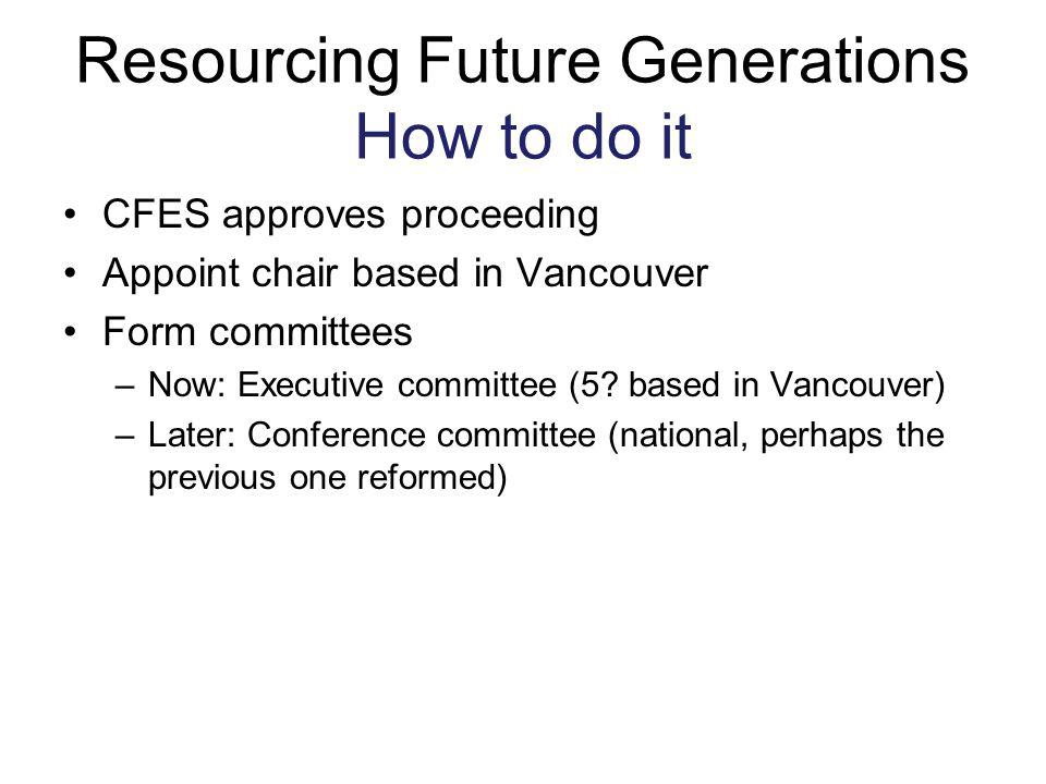 Resourcing Future Generations How to do it
