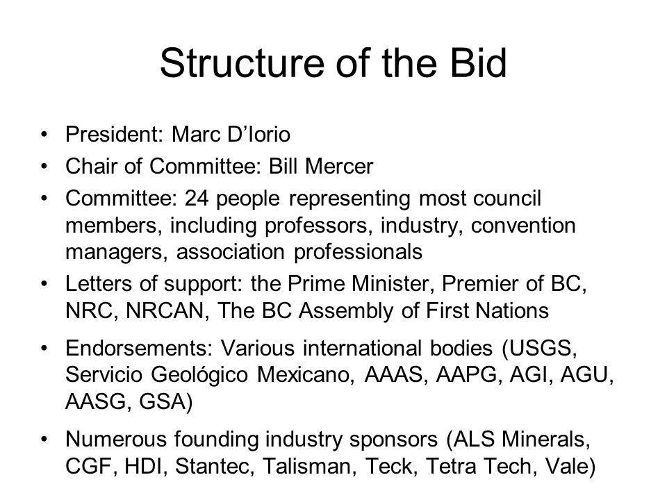 Structure of the Bid President: Marc D'Iorio