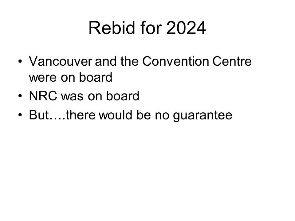 Rebid for 2024 Vancouver and the Convention Centre were on board