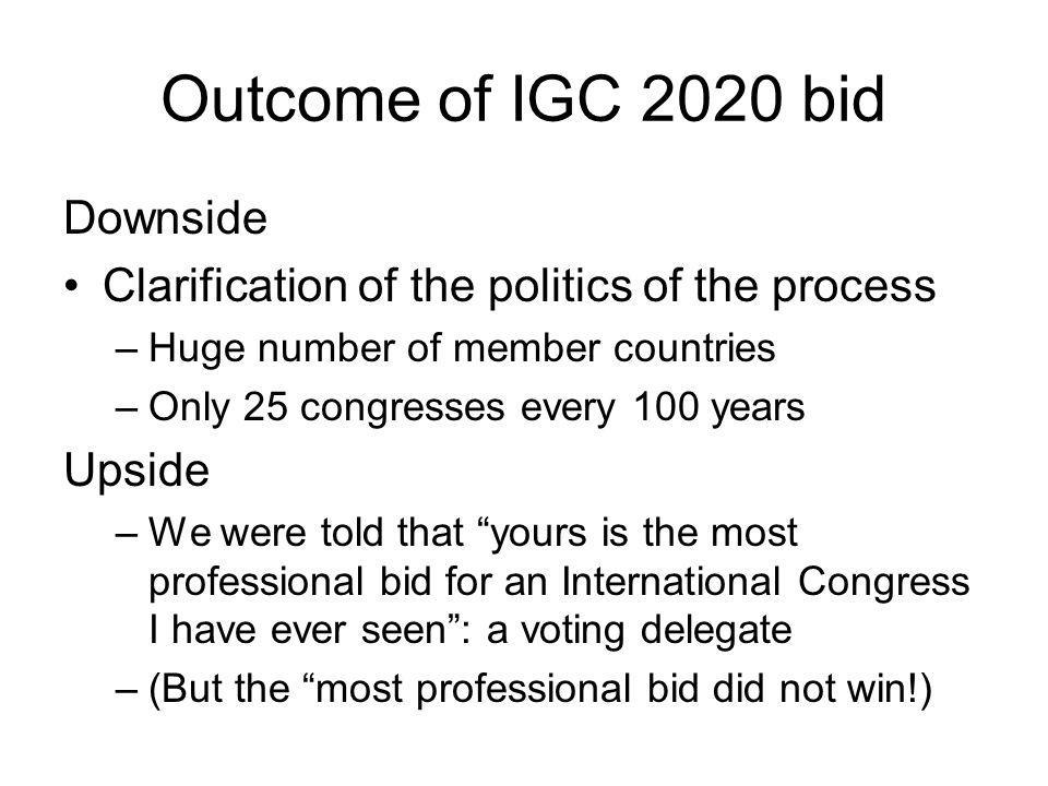 Outcome of IGC 2020 bid Downside