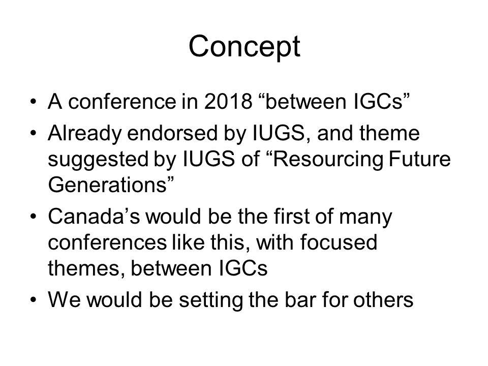 Concept A conference in 2018 between IGCs