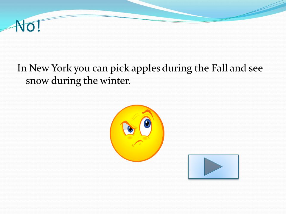 No! In New York you can pick apples during the Fall and see snow during the winter.