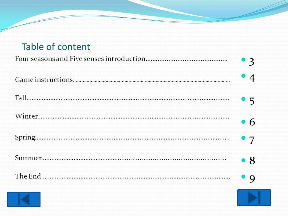 Table of content Four seasons and Five senses introduction……........................................