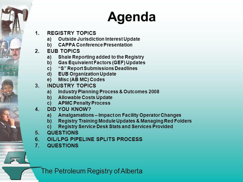 Agenda REGISTRY TOPICS EUB TOPICS INDUSTRY TOPICS DID YOU KNOW