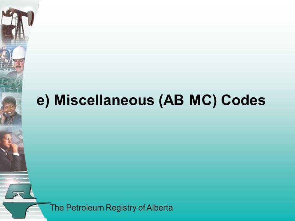 e) Miscellaneous (AB MC) Codes
