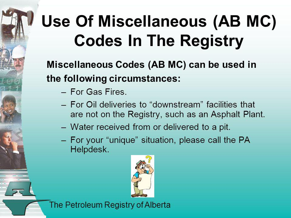 Use Of Miscellaneous (AB MC) Codes In The Registry