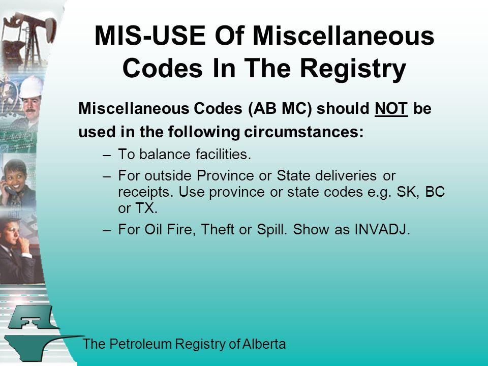 MIS-USE Of Miscellaneous Codes In The Registry