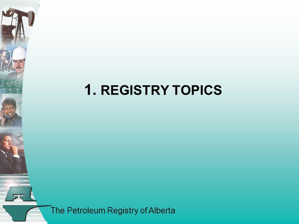 1. REGISTRY TOPICS