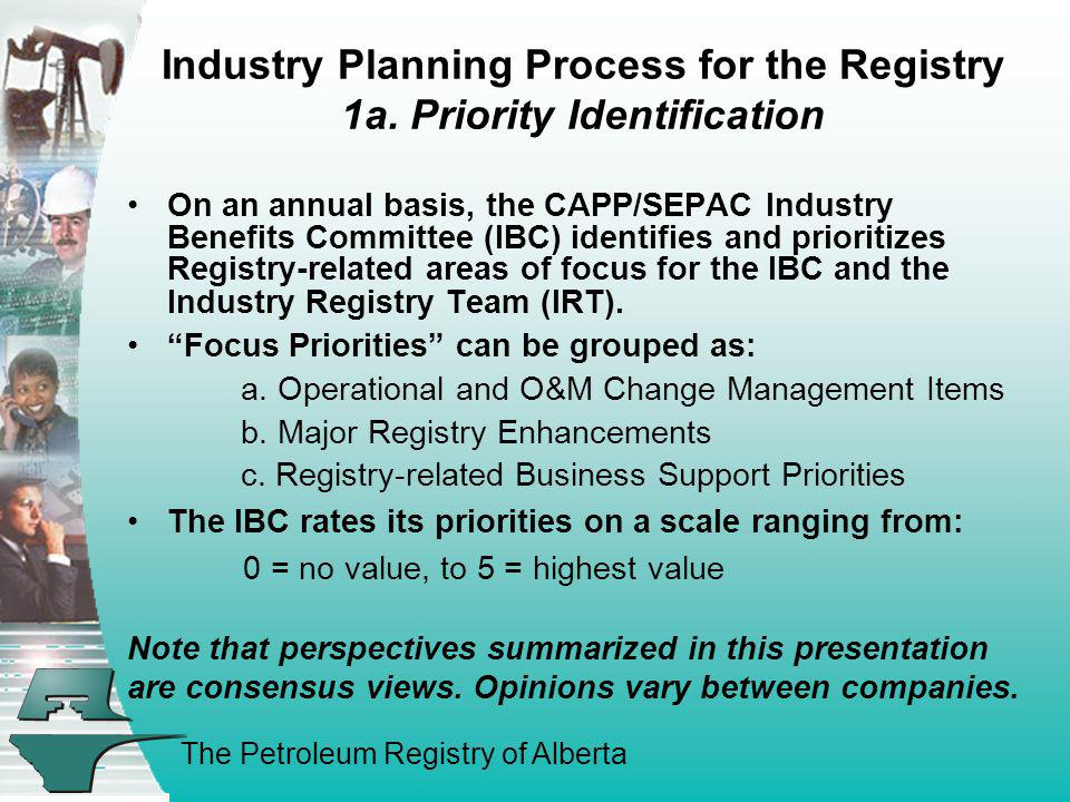 Industry Planning Process for the Registry 1a. Priority Identification