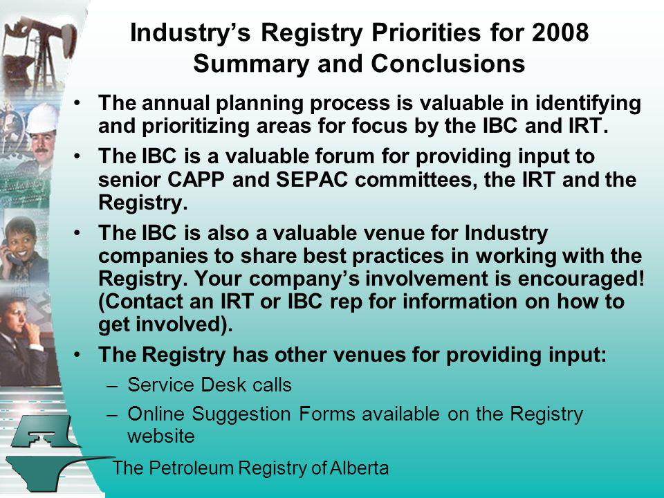 Industry's Registry Priorities for 2008 Summary and Conclusions