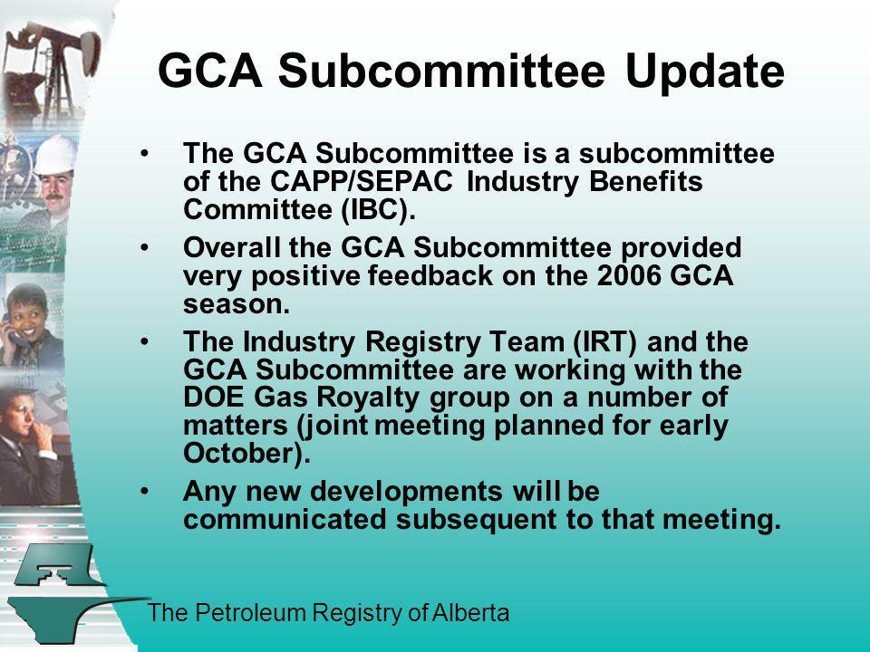 GCA Subcommittee Update