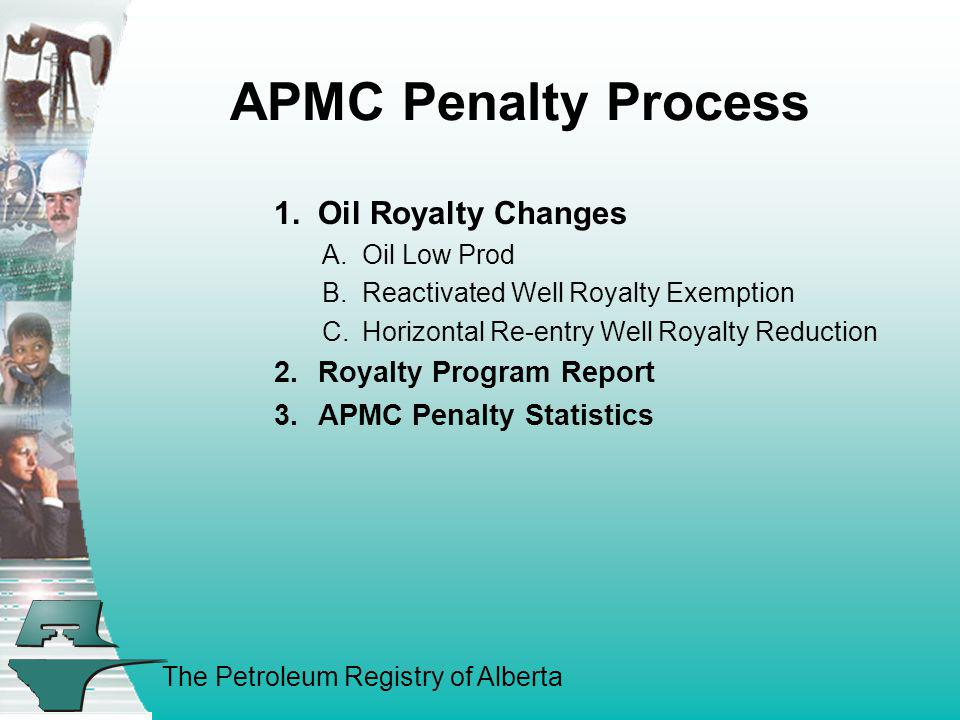 APMC Penalty Process 1. Oil Royalty Changes Royalty Program Report
