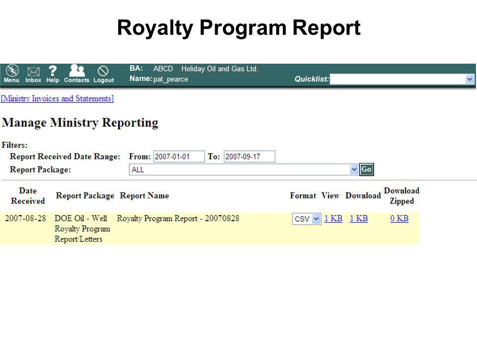 Royalty Program Report