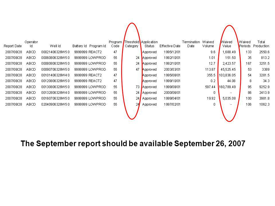 The September report should be available September 26, 2007