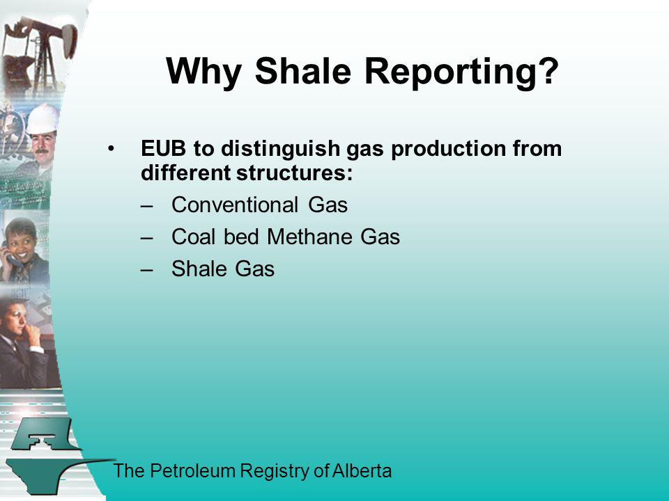 Why Shale Reporting EUB to distinguish gas production from different structures: Conventional Gas.