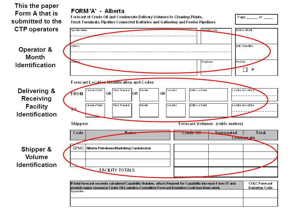This the paper Form A that is submitted to the CTP operators
