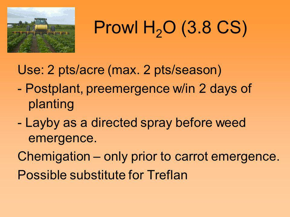Prowl H2O (3.8 CS) Use: 2 pts/acre (max. 2 pts/season)