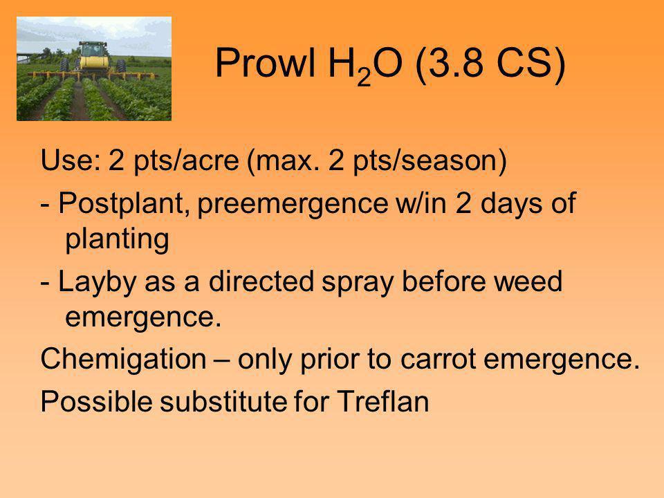 Prowl H2O (3.8 CS) Use: 2 pts/acre (max. 2 pts/season)