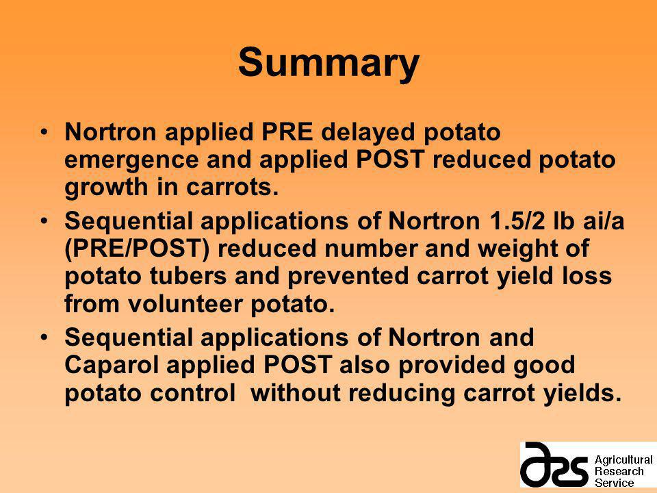 Summary Nortron applied PRE delayed potato emergence and applied POST reduced potato growth in carrots.