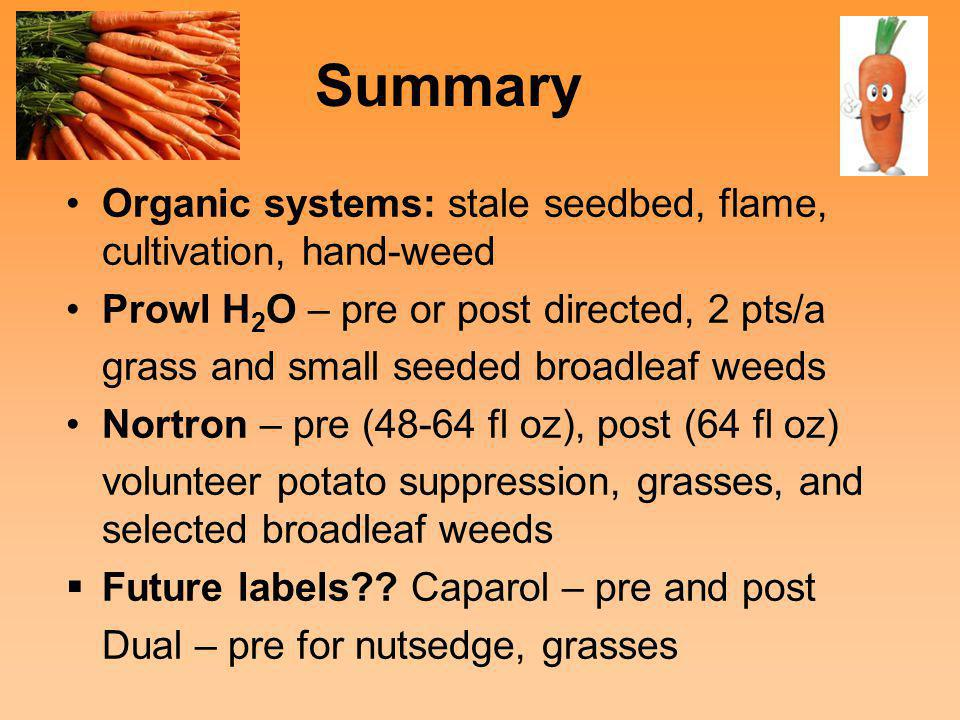 Summary Organic systems: stale seedbed, flame, cultivation, hand-weed