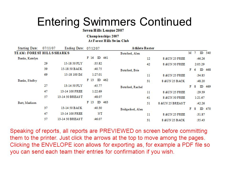 Entering Swimmers Continued