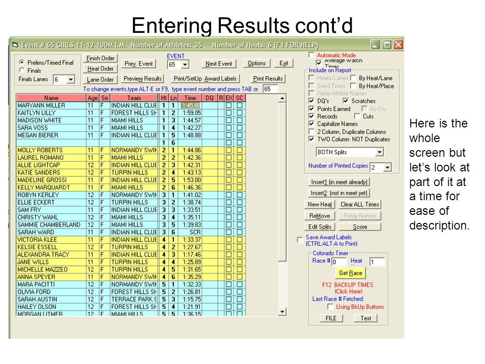 Entering Results cont'd