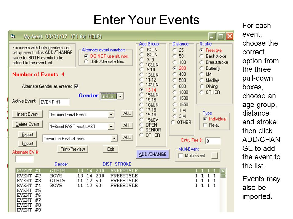 Enter Your Events