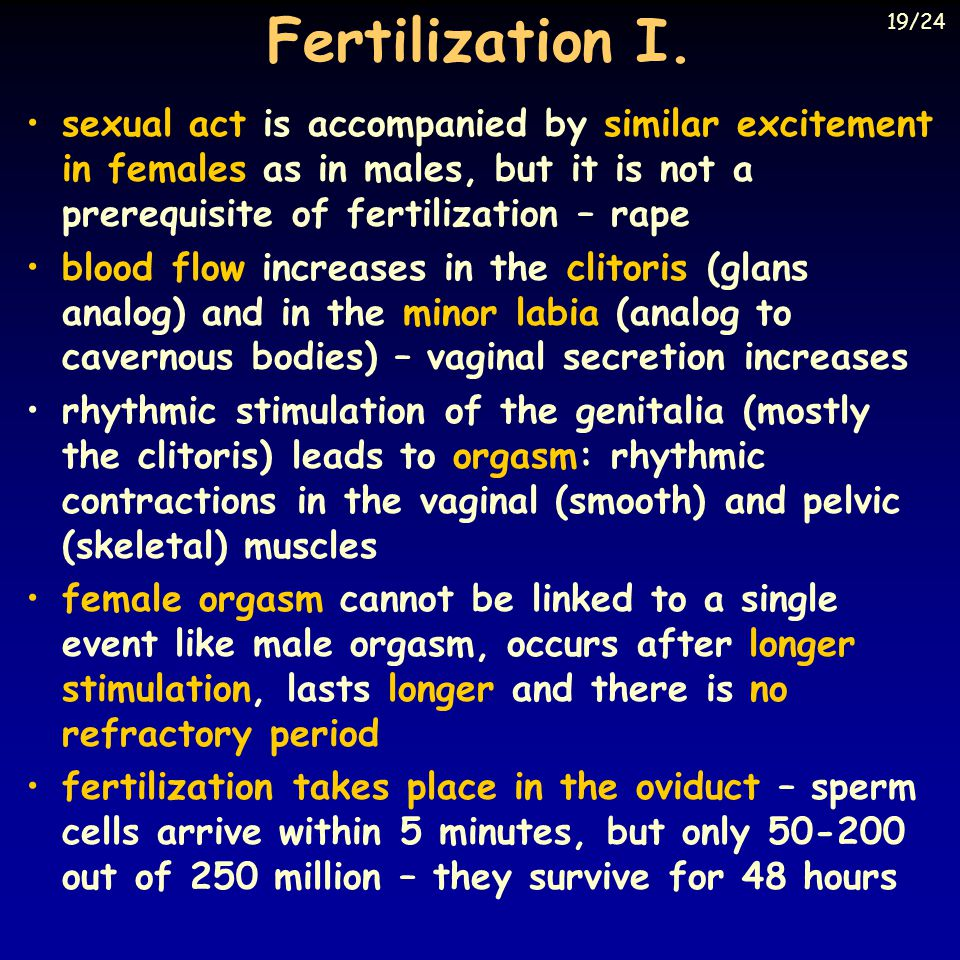 Fertilization I. 19/24. sexual act is accompanied by similar excitement in females as in males, but it is not a prerequisite of fertilization – rape.