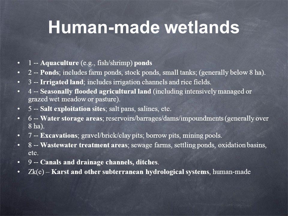 Human-made wetlands 1 -- Aquaculture (e.g., fish/shrimp) ponds
