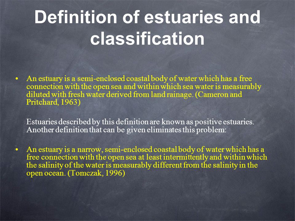 Definition of estuaries and classification