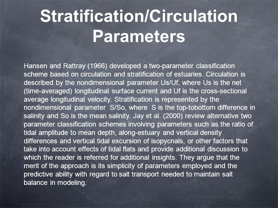 Stratification/Circulation Parameters