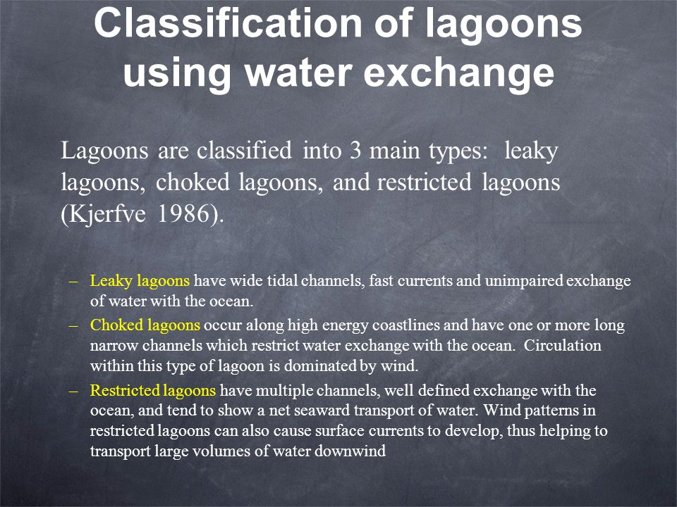 Classification of lagoons using water exchange