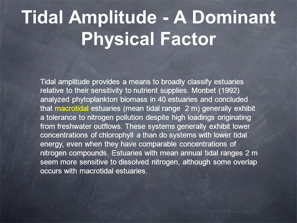 Tidal Amplitude - A Dominant Physical Factor