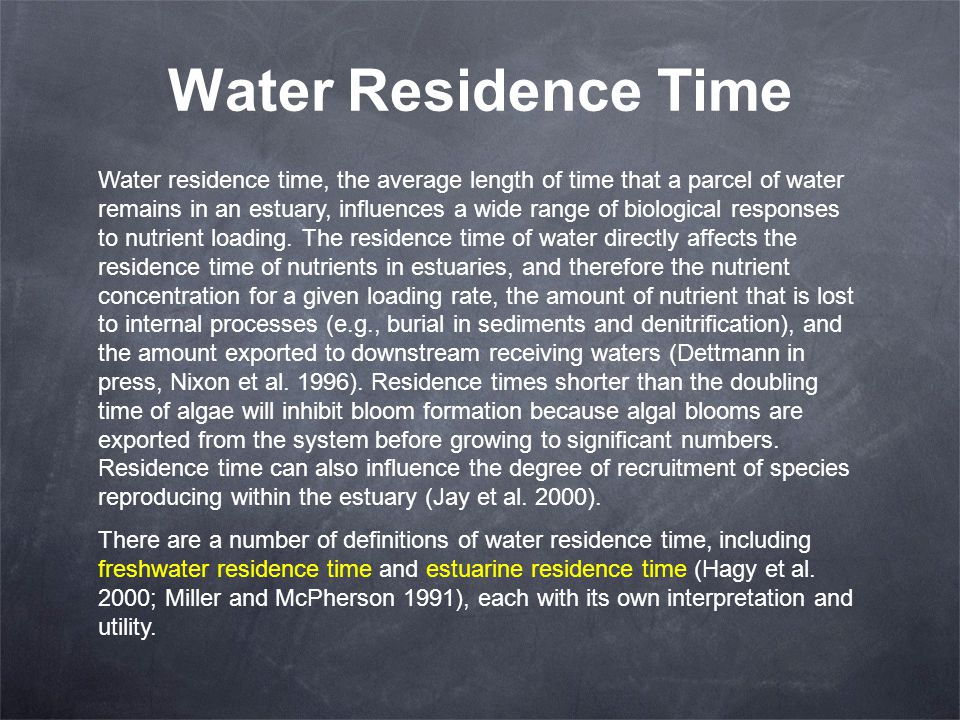 Water Residence Time