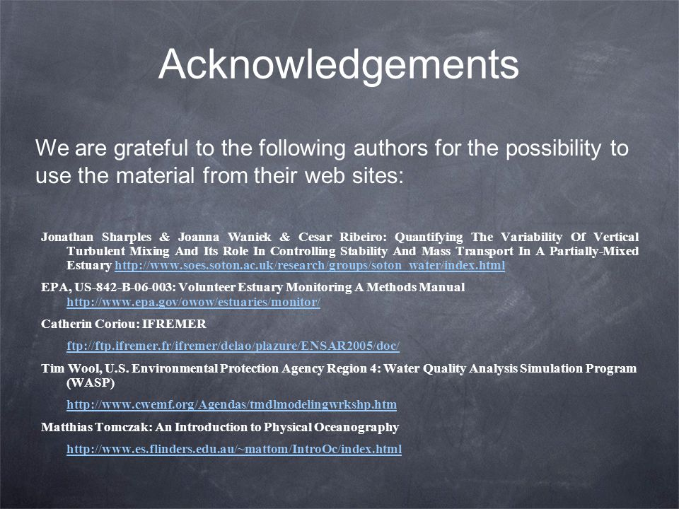 Acknowledgements We are grateful to the following authors for the possibility to use the material from their web sites: