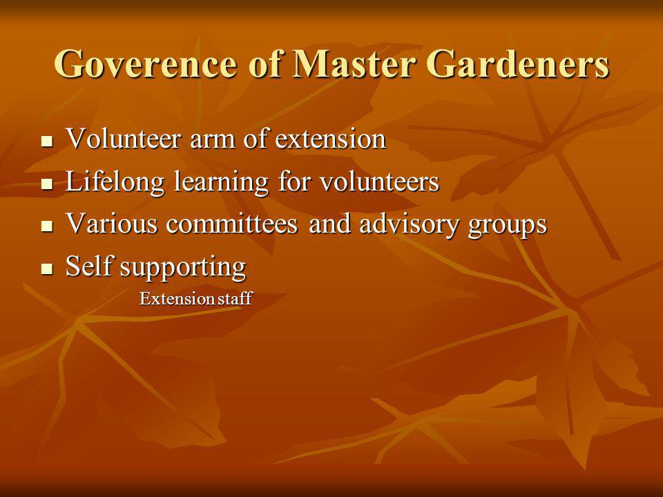 Goverence of Master Gardeners