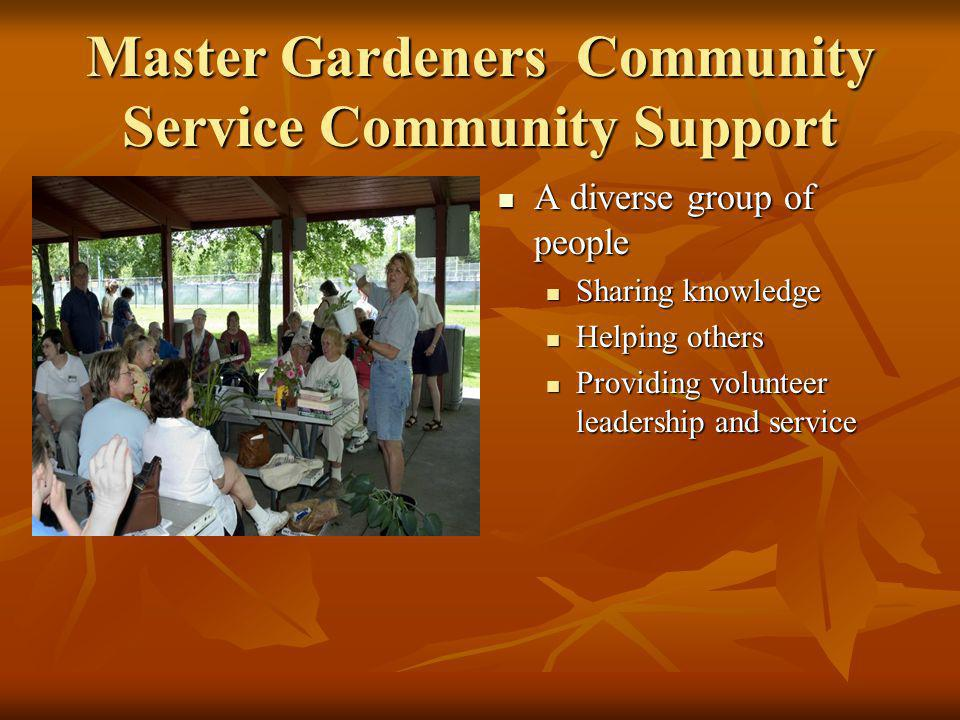 Master Gardeners Community Service Community Support