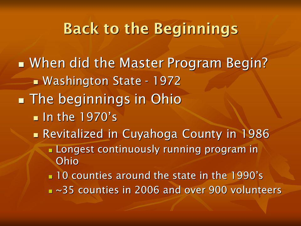 Back to the Beginnings When did the Master Program Begin