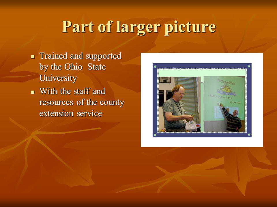 Part of larger picture Trained and supported by the Ohio State University. With the staff and resources of the county extension service.