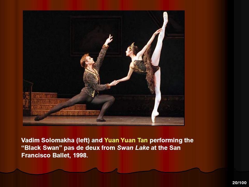 Vadim Solomakha (left) and Yuan Yuan Tan performing the Black Swan pas de deux from Swan Lake at the San Francisco Ballet, 1998.